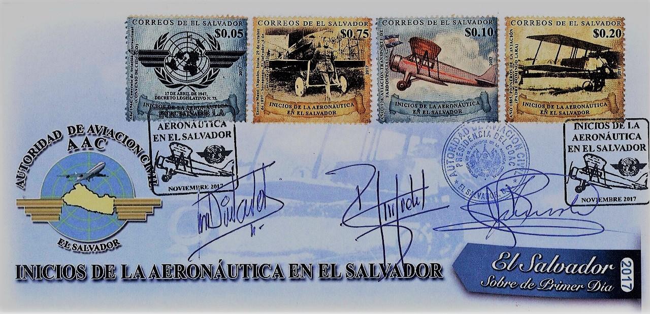 Correos de El Salvador emite sellos postales alusivos a los inicios de la aeronáutica en nuestro país.