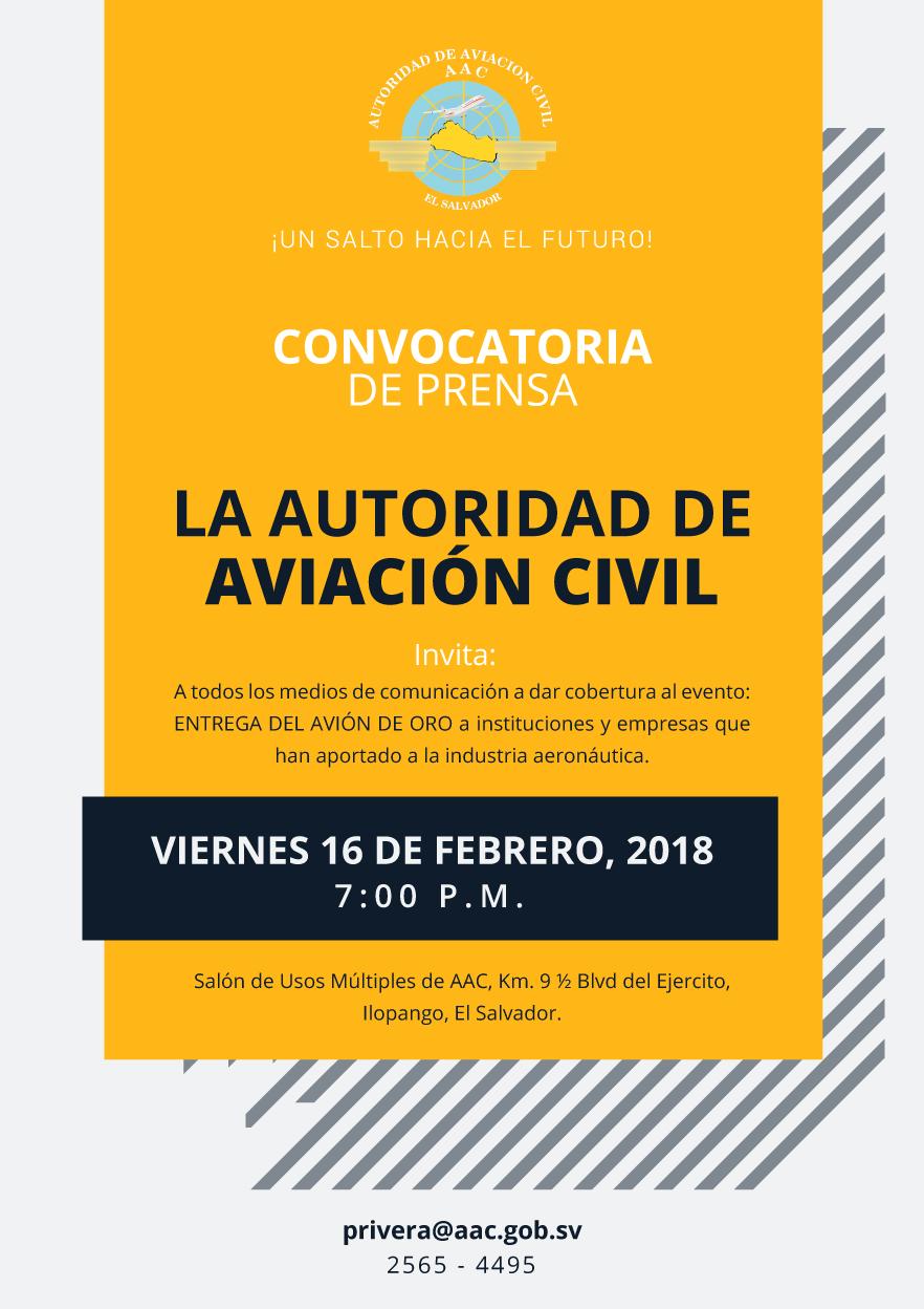 Autoridad de Aviación Civil hace llamado a medios de comunicación para conferencia.