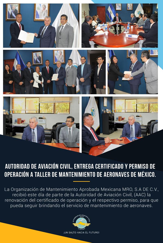 Autoridad de Aviación Civil, entrega certificado y permiso de operación a taller de mantenimiento de aeronaves de México.