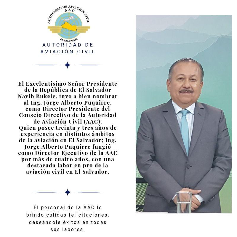 Ing. Jorge Alberto Puquirre, Director Presidente de la Autoridad de Aviación Civil 2019-2024