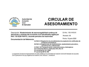Circular de Asesoramiento (CA) sobre el Protocolo de Medidas de Bioseguridad para el reinicio de operaciones en la aviación civil de El Salvador (LOAC- 0704-01).