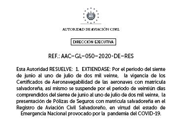 Quinta extensión a la vigencia de los Certificados de Aeronavegabilidad de aeronaves con matrícula salvadoreña y extensión a las Pólizas de Seguro.