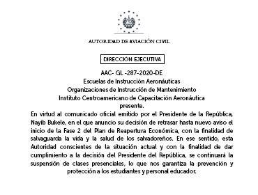 Suspensión de la Fase 2 de reapertura económica y por tanto suspensión de clases presenciales a las Escuelas de Instrucción aeronáuticas y Organizaciones de Instrucción de  Mantenimiento