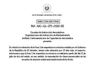 Informamos sobre las fechas para reanudación de clases presenciales en las Escuelas de Aviaciòn.