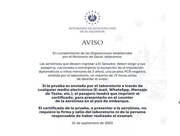 AVISO SOBRE REQUISITOS PARA PRESENTACIÓN DE PRUEBA PCR NEGATIVA PARA EL INGRESO DE PASAJEROS A EL SALVADOR