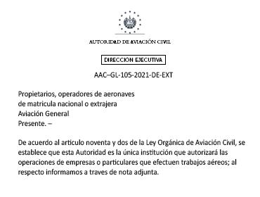 NOTA PARA PROPIETARIOS, OPERADORES DE AERONAVES Y AVIACIÓN GENERAL
